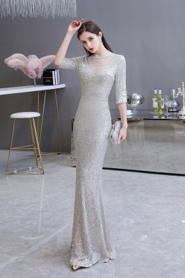 Jewel Neck Half Sleeves Open Back Floor Length Glitter Fitted Prom Dresses_4
