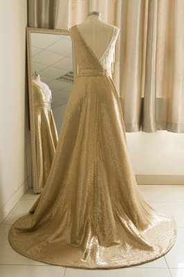 Straps Backless Applique Sequin Tulle A Line  Prom Dresses_3
