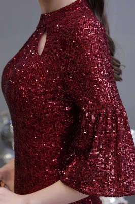 Jewel Keyhole Half Sleeves Floor Length Sequin Burgundy Prom Dresses_11
