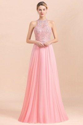 Halter Full Back Applique Beaded Pearls Chiffon A Line Prom Dresses_22