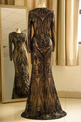 Black Jewel Long Sleeve Applique Sequin Sheath Prom Dresses With Detachable Skirt_5