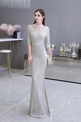 Jewel Neck Half Sleeves Open Back Floor Length Glitter Fitted Prom Dresses_5