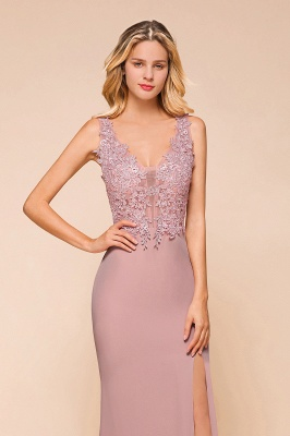 Dusty Pink Mermaid Lace Prom Dress Long Sleeveless Evening Gowns_3