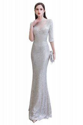 Jewel Neck Half Sleeves Open Back Floor Length Glitter Fitted Prom Dresses_15