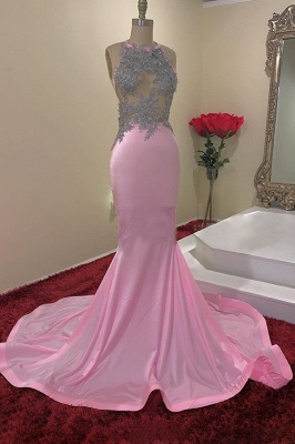 Jewel Sleeveless Appliques Sheer Mermaid Pink Prom Dresses