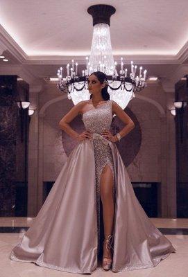 One Shoulder Belted Side Slit Sequin Prom Dresses with Detachable Train_1