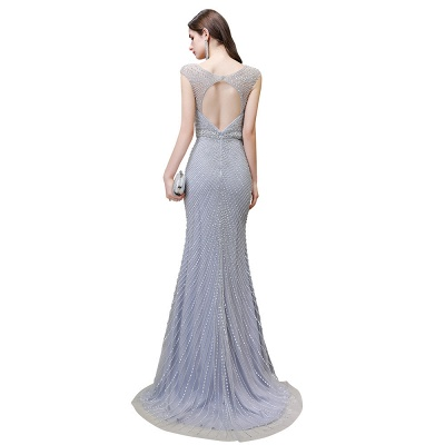 V-neck Cap Sleeves Floor Length Crystal Belt Fitted Prom Dresses_26