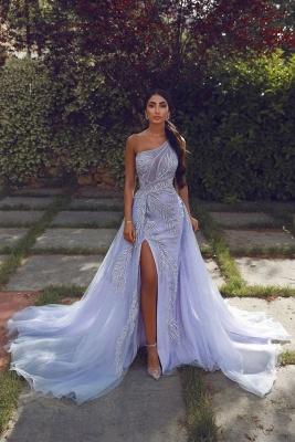 Charming One Shoulder Appliques Lilac Side Slit Prom Dresses with Detachable Train_1