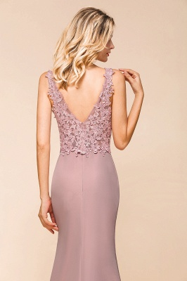 Dusty Pink Mermaid Lace Prom Dress Long Sleeveless Evening Gowns_7