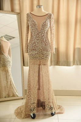 Gold Graceful Long Sleeve Applique Beaded Sheath Floor Length Prom Dresses