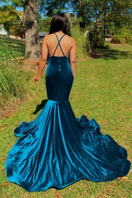 Straps V-neck Appliques Dark Blue Velvet Mermaid Prom Dresses_2