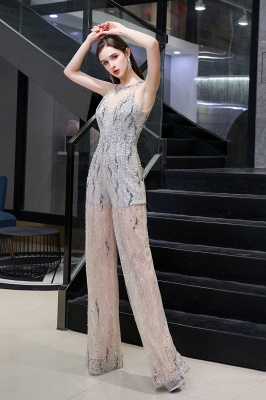 Round Neck Sleeveless Open Back Beaded Sparkly Prom Jumpsuit_5