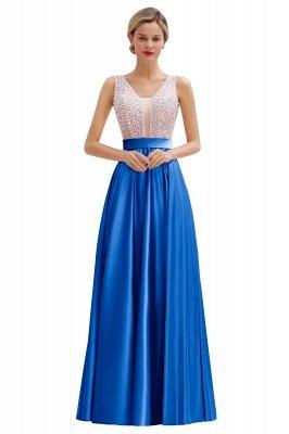 Pink Straps V Neck Beading Crystals A Line Floor Length Ruffles Prom Dresses | Backless Sash Evening Dresses_2