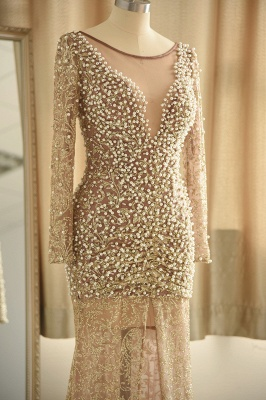 Gold Graceful Long Sleeve Applique Beaded Sheath Floor Length Prom Dresses_6