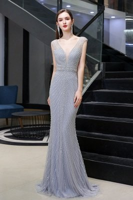 V-neck Cap Sleeves Floor Length Crystal Belt Fitted Prom Dresses