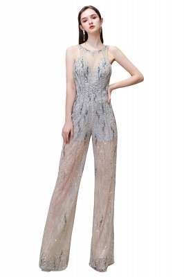 Round Neck Sleeveless Open Back Beaded Sparkly Prom Jumpsuit_1