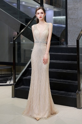 V-neck Cap Sleeves Floor Length Crystal Belt Fitted Prom Dresses_11