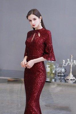 Jewel Keyhole Half Sleeves Floor Length Sequin Burgundy Prom Dresses_4