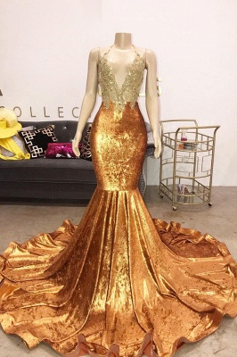 Spaghetti Straps V-neck Appliques Mermaid Velvet Orange Prom Dresses