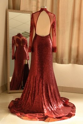 Burgundy High Neck Open Back Long Sleeve Applique Sequin Side Slit Sheath Prom Dresses_3