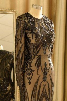 Black Jewel Long Sleeve Applique Sequin Sheath Prom Dresses With Detachable Skirt_8