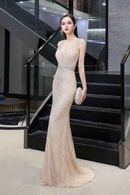 V-neck Cap Sleeves Floor Length Crystal Belt Fitted Prom Dresses_15
