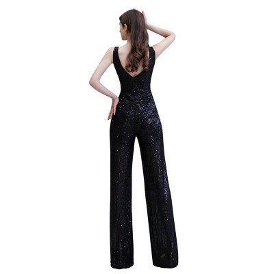 Women's Fashion V-neck Straps Sparkly Sequin Prom Jumpsuit_25
