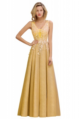 Elegant Sleeveless V-neck Floor Length Appliques Prom Dresses | Cheap Backless Evening Dresses_3