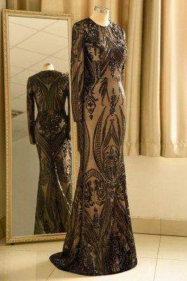 Black Jewel Long Sleeve Applique Sequin Sheath Prom Dresses With Detachable Skirt_6