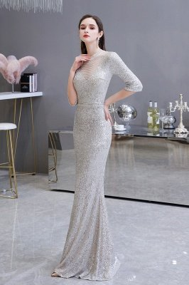 Jewel Neck Half Sleeves Open Back Floor Length Glitter Fitted Prom Dresses_3