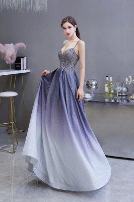 Spaghetti Straps V-neck Beaded Appliques A-line Prom Dresses_4