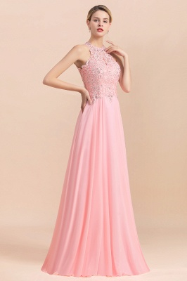 Halter Full Back Applique Beaded Pearls Chiffon A Line Prom Dresses_15
