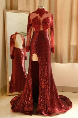 Burgundy High Neck Open Back Long Sleeve Applique Sequin Side Slit Sheath Prom Dresses_1