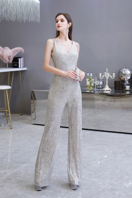 Women's Fashion V-neck Straps Sparkly Sequin Prom Jumpsuit_9
