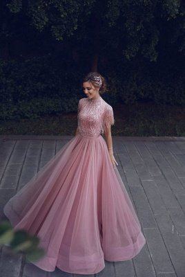 Jewel Short Sleeves Floor Length  A-line Pink Princess Prom Dresses with Fringes_1