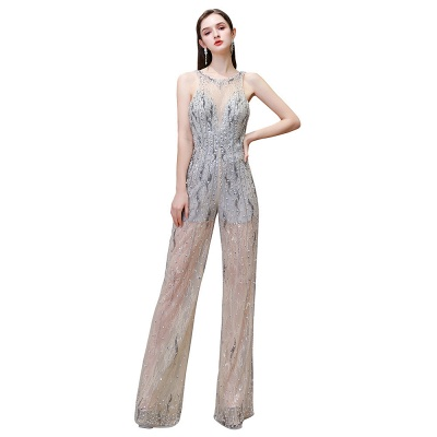 Round Neck Sleeveless Open Back Beaded Sparkly Prom Jumpsuit_13