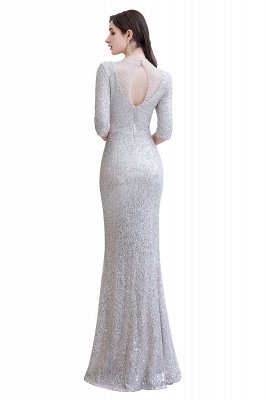 Jewel Neck Half Sleeves Open Back Floor Length Glitter Fitted Prom Dresses_13