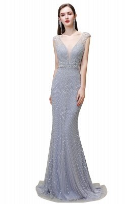 V-neck Cap Sleeves Floor Length Crystal Belt Fitted Prom Dresses_2