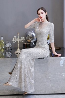 Jewel Neck Half Sleeves Open Back Floor Length Glitter Fitted Prom Dresses_16