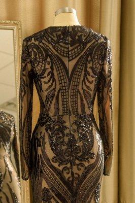 Black Jewel Long Sleeve Applique Sequin Sheath Prom Dresses With Detachable Skirt_9