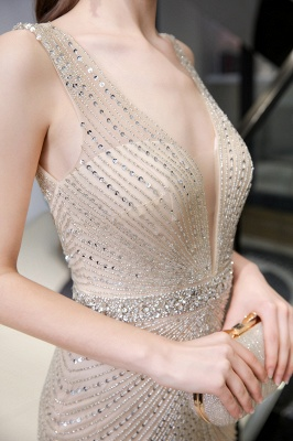 V-neck Cap Sleeves Floor Length Crystal Belt Fitted Prom Dresses_23