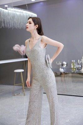 Women's Fashion V-neck Straps Sparkly Sequin Prom Jumpsuit_8