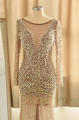 Gold Graceful Long Sleeve Applique Beaded Sheath Floor Length Prom Dresses_5