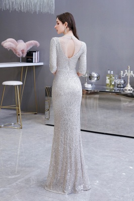 Jewel Neck Half Sleeves Open Back Floor Length Glitter Fitted Prom Dresses_9