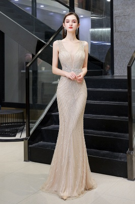 V-neck Cap Sleeves Floor Length Crystal Belt Fitted Prom Dresses_13