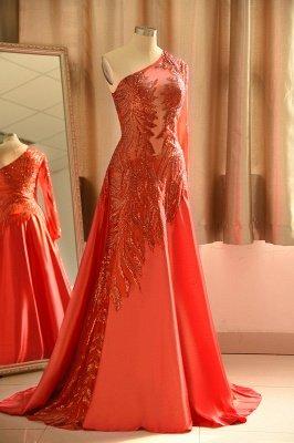 Red One Shoulder Long Sleeve Applique Floor Length A Line Prom Dresses_4