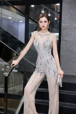 Round Neck Sleeveless Open Back Beaded Sparkly Prom Jumpsuit_9