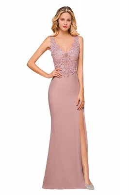 Dusty Pink Mermaid Lace Prom Dress Long Sleeveless Evening Gowns_9