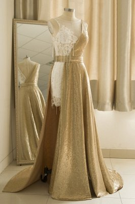 Straps Backless Applique Sequin Tulle A Line  Prom Dresses_4