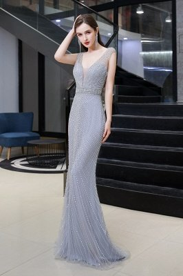V-neck Cap Sleeves Floor Length Crystal Belt Fitted Prom Dresses_4